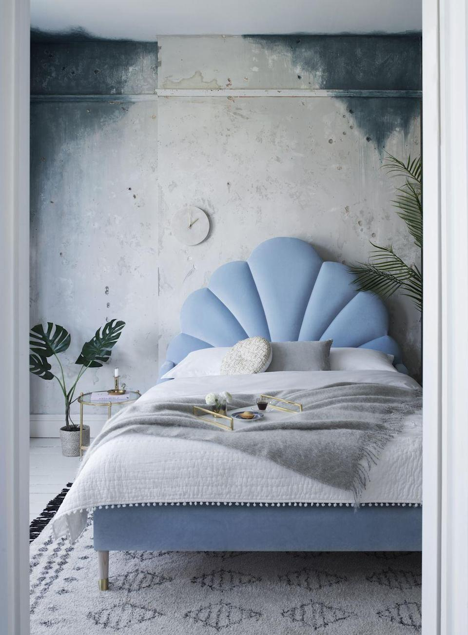 """<p>Blue is a calming colour, and so finds a natural fit in a bedroom. This delicate shade is particularly conducive to a restful environment, promoting tranquillity and stability - the perfect antidote to a restless mind and body.<br></p><p>Pictured: <a href=""""https://www.sweetpeaandwillow.com/beds-bedroom/handmade-beds/ariel-bed"""" rel=""""nofollow noopener"""" target=""""_blank"""" data-ylk=""""slk:Ariel Upholstered Bed at Sweetpea & Willow"""" class=""""link rapid-noclick-resp"""">Ariel Upholstered Bed at Sweetpea & Willow</a></p>"""