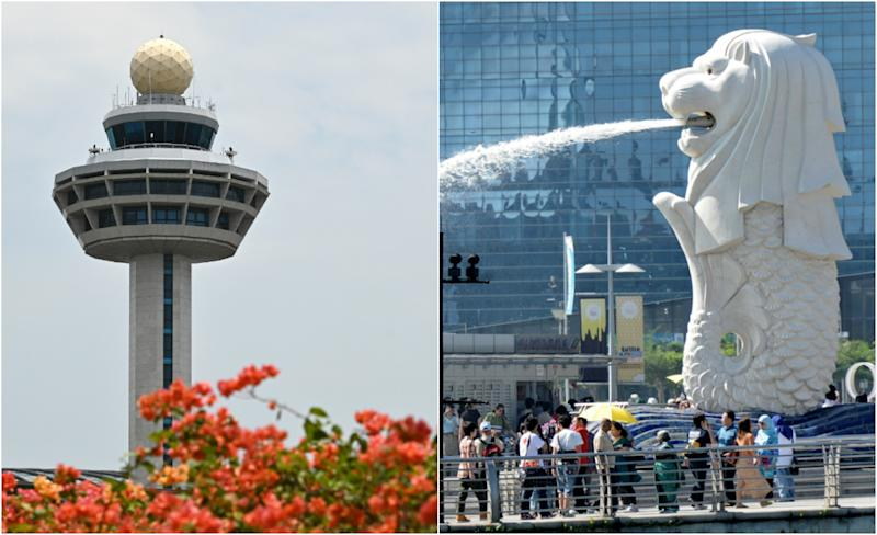 The Changi Airport control tower and Merlion. (AFP via Getty Images file photos)