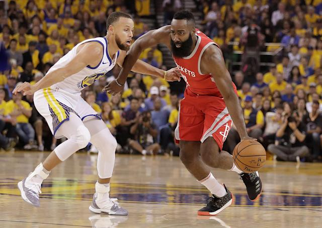 """Shoe contracts are reportedly the biggest obstacle for Stephen Curry and James Harden starring in """"Space Jam 2."""" (AP)"""