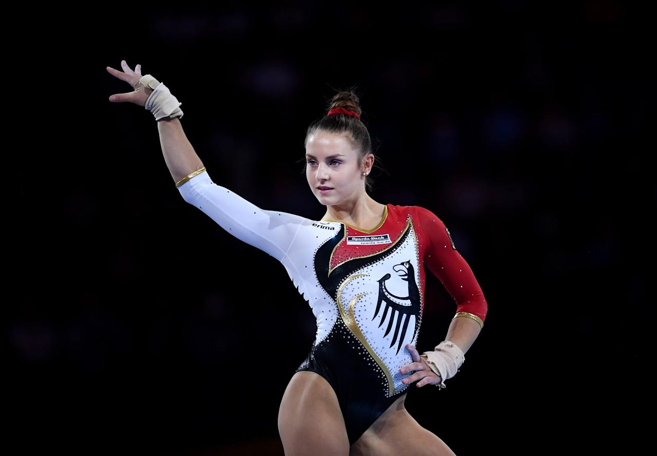 """<p>Emelie Petz, 16, of Germany recently competed at the 2019 World Gymnastics Championships, and though she and her teammates <a href=""""http://usagym.org/PDFs/Results/2019/w_19worlds_qualteam.pdf"""" target=""""_blank"""" class=""""ga-track"""" data-ga-category=""""Related"""" data-ga-label=""""http://usagym.org/PDFs/Results/2019/w_19worlds_qualteam.pdf"""" data-ga-action=""""In-Line Links"""">just missed qualifying for the team final</a>, they were able to secure their ticket for the Tokyo 2020 Games (the top nine teams that didn't qualify at last year's Worlds - USA, Russia, and China - <a href=""""https://www.gymnastics.sport/site/events/detail.php?id=15571##loaded"""" target=""""_blank"""" class=""""ga-track"""" data-ga-category=""""Related"""" data-ga-label=""""https://www.gymnastics.sport/site/events/detail.php?id=15571##loaded"""" data-ga-action=""""In-Line Links"""">qualified this year</a>).</p> <p>The D-value bar dismount Emelie got named after her this year is something called a """"clear straddle circle,"""" which is a circle around the bar in a straddle position into a front flip off of the bar with a full twist in a tucked position. """"It's such a nice feeling,"""" <a href=""""http://www.youtube.com/watch?v=Ipbv06HqPug"""" target=""""_blank"""" class=""""ga-track"""" data-ga-category=""""Related"""" data-ga-label=""""http://www.youtube.com/watch?v=Ipbv06HqPug"""" data-ga-action=""""In-Line Links"""">she told GymCastic after landing it at 2019 Worlds</a>. """"I'm 16 years old and I have my own element on bars. It's named after me, so it's a Petz.""""</p>"""