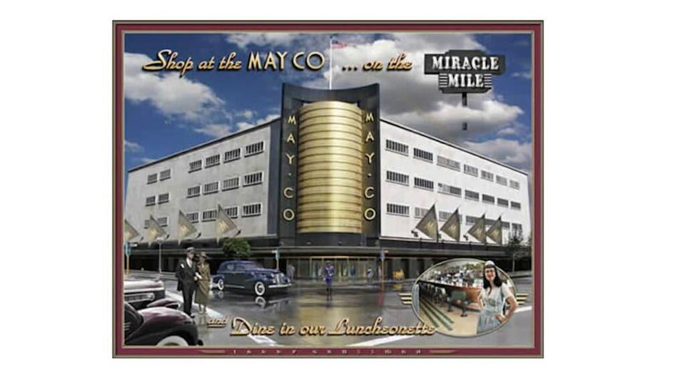 The Streamline Moderne May Company department story building on Wilshire Blvd. and Fairfax Ave. in Los Angeles