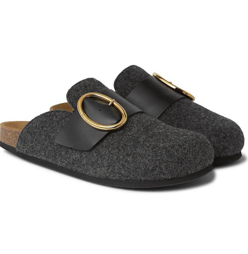 """<p><strong>JW Anderson</strong></p><p>mrporter.com</p><p><strong>$450.00</strong></p><p><a href=""""https://go.redirectingat.com?id=74968X1596630&url=https%3A%2F%2Fwww.mrporter.com%2Fen-us%2Fmens%2Fproduct%2Fjw-anderson%2Fshoes%2Floafers%2Fleather-trimmed-felt-backless-loafers%2F30049528927119488&sref=https%3A%2F%2Fwww.esquire.com%2Fstyle%2Fmens-fashion%2Fg35293457%2Fbest-new-menswear-january-23%2F"""" rel=""""nofollow noopener"""" target=""""_blank"""" data-ylk=""""slk:Shop Now"""" class=""""link rapid-noclick-resp"""">Shop Now</a></p>"""