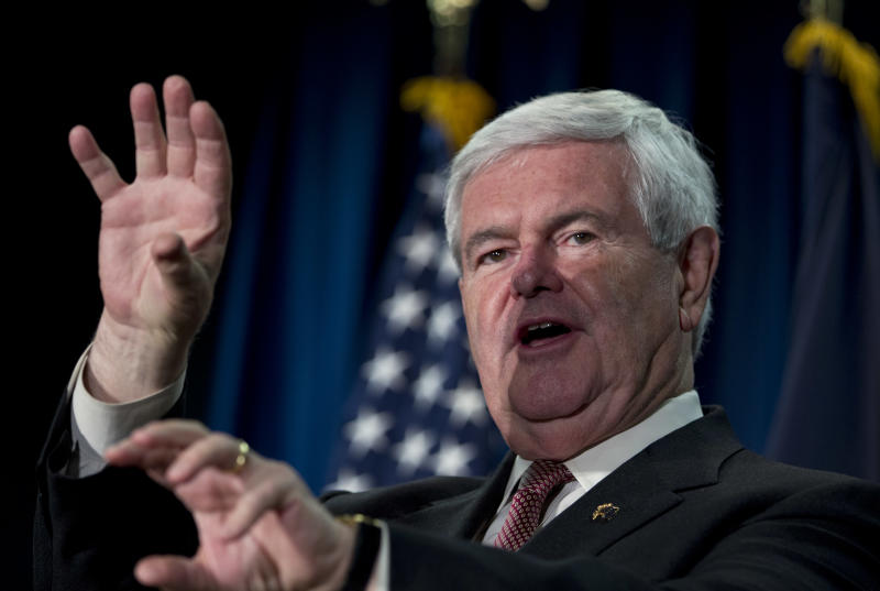 Republican presidential candidate, former House Speaker Newt Gingrich speaks during a campaign stop on Thursday, Feb. 23, 2012 in Cocur d'Alene, Idaho.  (AP Photo/Evan Vucci)