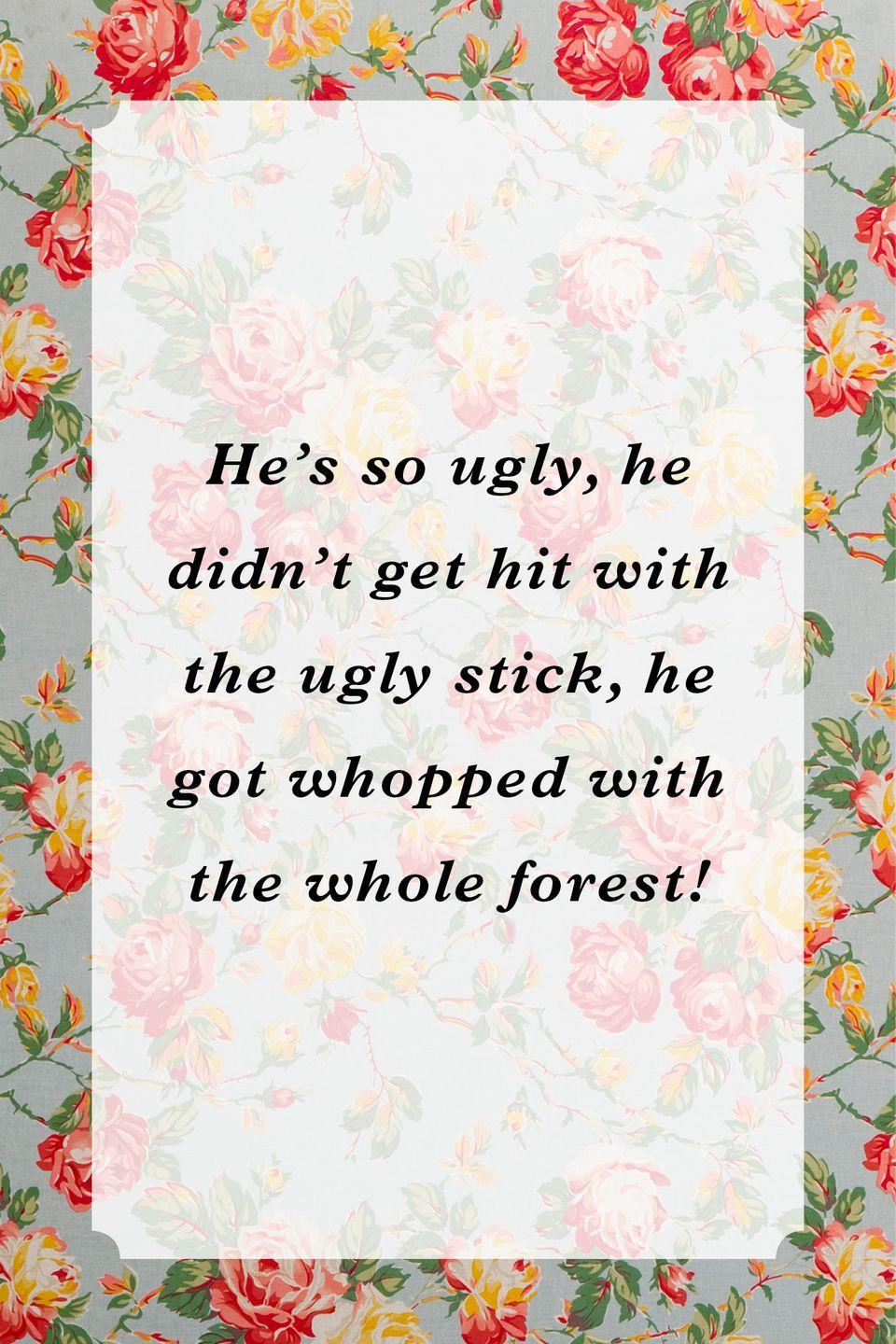 """<p>""""He's so ugly, he didn't get hit with the ugly stick, he got whopped with the whole forest!""""</p>"""