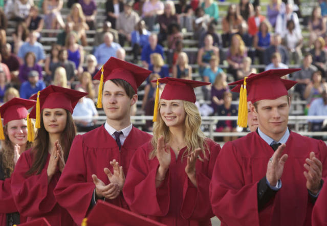 """Graduation"" -- Nina Dobrev as Elena, Candice Accola as Caroline, and Zach Roerig as Matt"