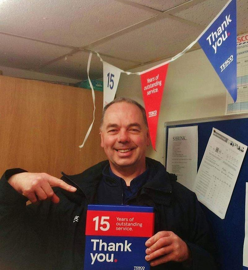 Mr Winstanley worked for Tesco for 17 years and received a special award for his loyalty. (SWNS)