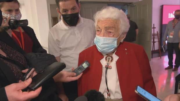 Hazel McCallion, who was mayor of Mississauga for 36 years, speaks to reporters at a Liberal rally in Brampton on Tuesday. (CBC - image credit)