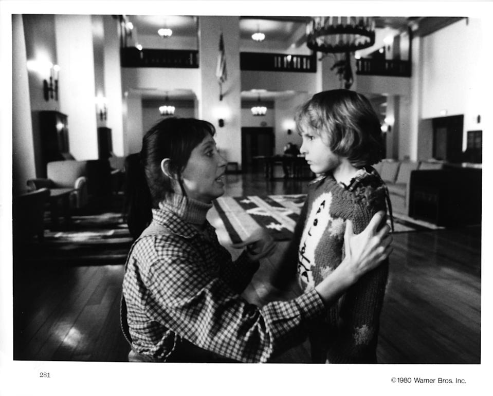BOREHAMWOOD, HERTS - 1980:  Actors Danny Lloyd and Shelley Duvall in a scene from the Warner Bros movie 'The Shining' in 1980 at Elstree Studios in Borehamwood, Hertfordshire, England. (Photo by Michael Ochs Archives/Getty Images)
