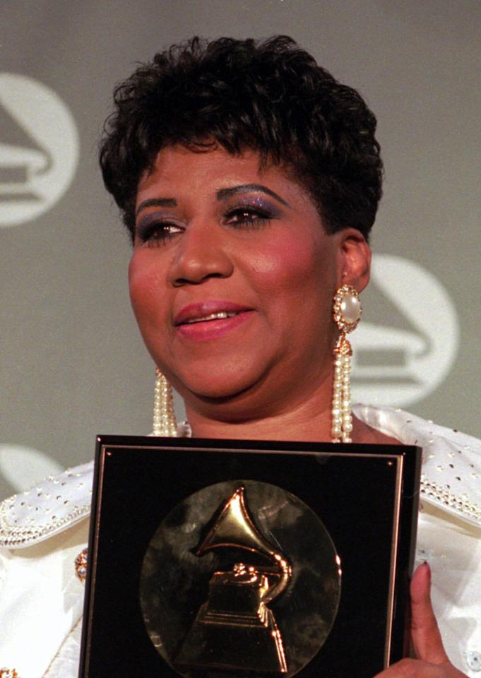 Aretha Franklin, shown in this March 1, 1994 file photo at the Grammy Awards, will return to the JVC  Jazz  Festival for the first time in 34 years.  Franklin is on the list of musicians who will entertain in this year's festival scheduled for June 21-29 in locations around the city including Carnegie Hall, Avery Fisher Hall and Bryant Park. (AP Photo/ Mike Albans)