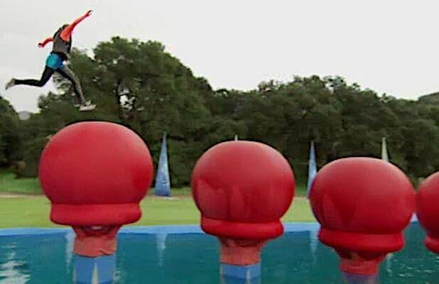 Wipeout contestant doing a challenge