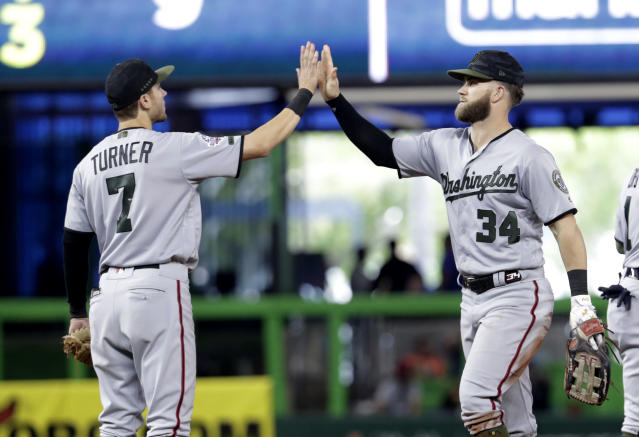 Washington Nationals shortstop Trea Turner (7) and right fielder Bryce Harper (34) high five after beating the Miami Marlins 5-2 in a baseball game, Sunday, May 27, 2018, in Miami. (AP Photo/Lynne Sladky)