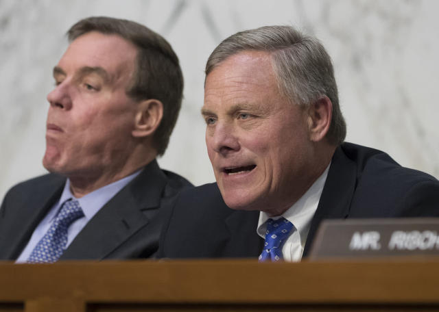 <p>Senate Intelligence Committee Chairman Sen. Richard Burr, R-N.C., right, accompanied by Committee Vice Chairman Sen. Mark Warner, D-Va., questions Attorney General Jeff Sessions on Capitol Hill in Washington, June 13, 2017, about his role in the firing of FBI Director James Comey and the investigation into contacts between Trump campaign associates and Russia. (J. Scott Applewhite/AP) </p>