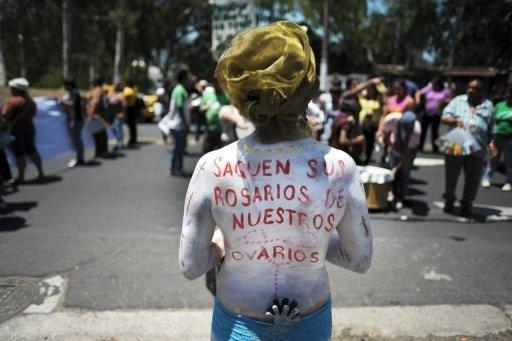 <p>Pro-abortion activists demonstrate outside the Supreme Court in San Salvador, on May 15, 2013. A chronically ill Salvadoran woman who was denied an abortion despite her high-risk pregnancy said Thursday she will undergo a premature Caesarean section next week to end a case that drew international headlines.</p>