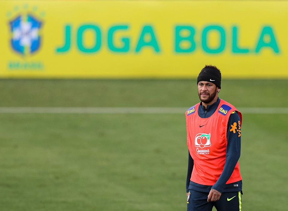 TERESOPOLIS, BRAZIL - JUNE 04: Neymar Jr of Brazil looks on during a training session of the Brazilian national football team at the squad's Granja Comary training complex on June 04, 2019 in Teresopolis, Brazil. (Photo by Buda Mendes/Getty Images)