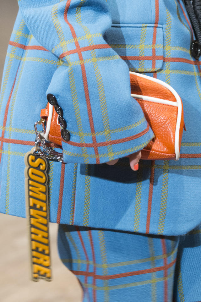 <p><i>Orange leather pouch from the SS18 Marc Jacobs collection. (Photo: ImaxTree) </i></p>