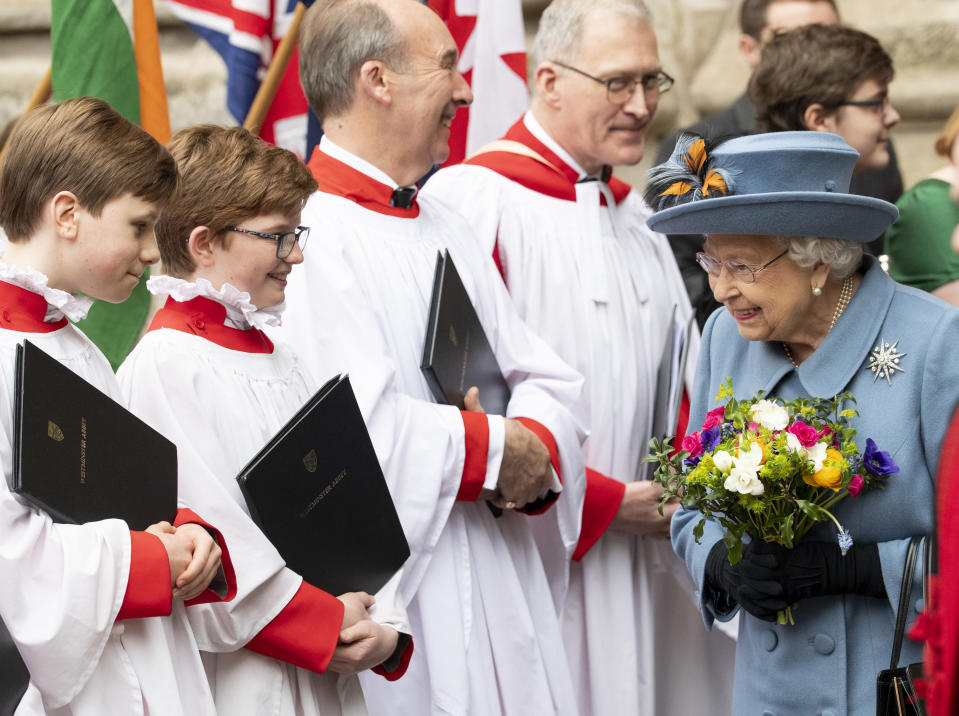 LONDON, ENGLAND - MARCH 09: Queen Elizabeth II attends the Commonwealth Day Service 2020 at Westminster Abbey on March 9, 2020 in London, England. (Photo by Mark Cuthbert/UK Press via Getty Images)