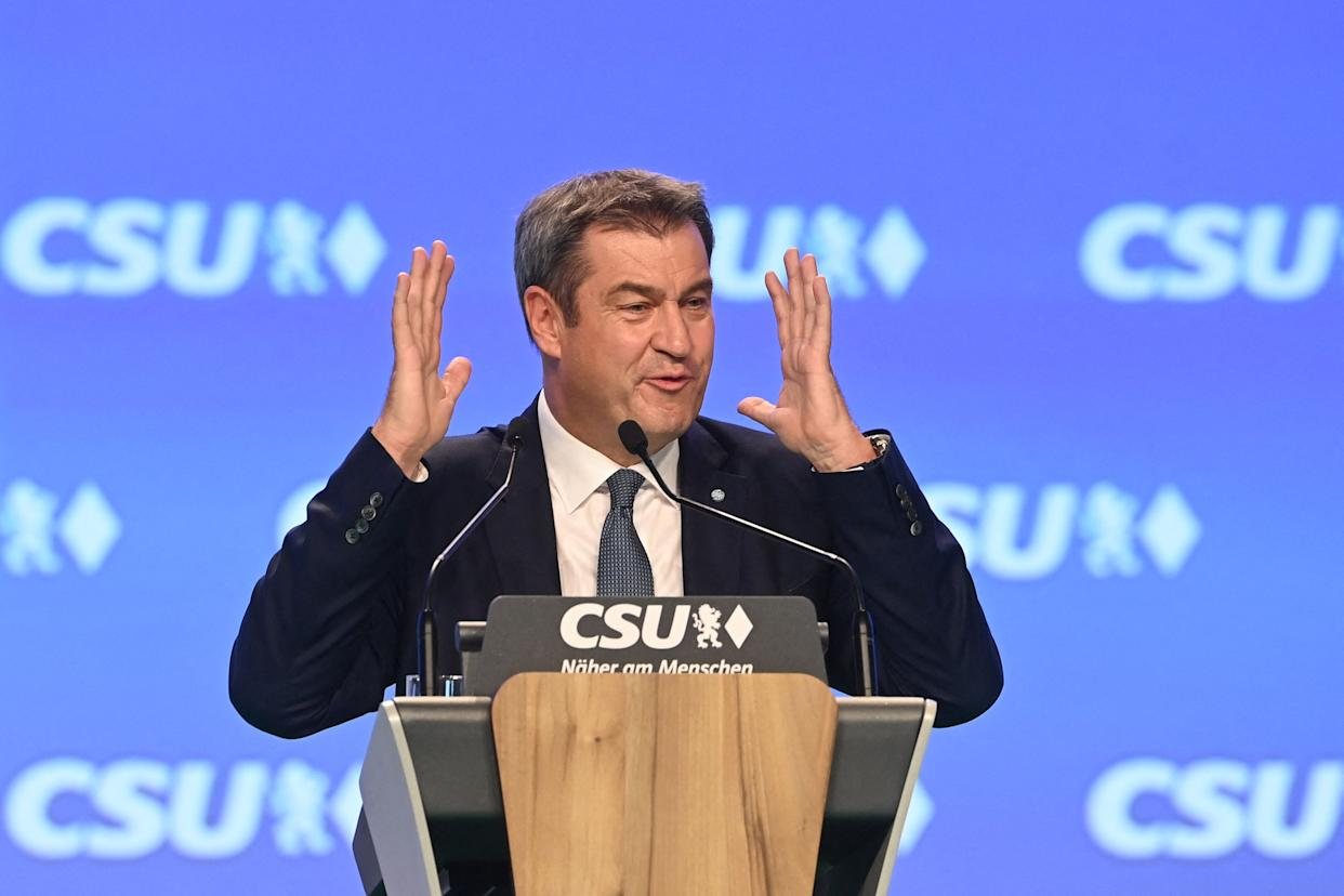 Markus Soeder, Bavarias State Premier and leader of the Christian Social Union (CSU) gestures as he speaks at the CSU party congress in Nuremberg, southern Germany, on September 10, 2021. (Photo by CHRISTOF STACHE / AFP) (Photo by CHRISTOF STACHE/AFP via Getty Images)