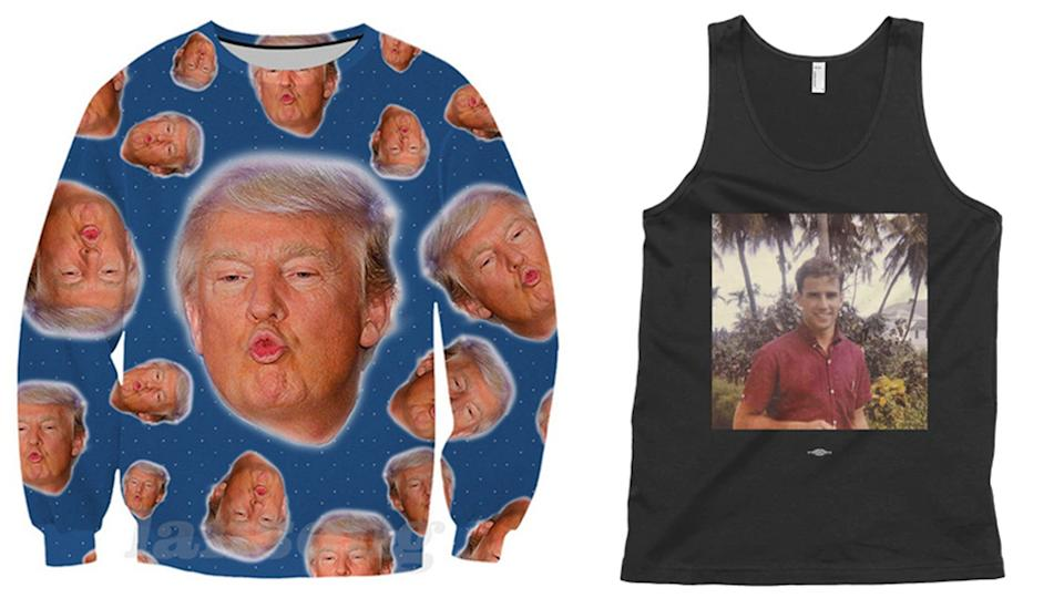Unofficial Donald Trump tracksuit (left)  and Young Joe Biden muscle t shirt (right)