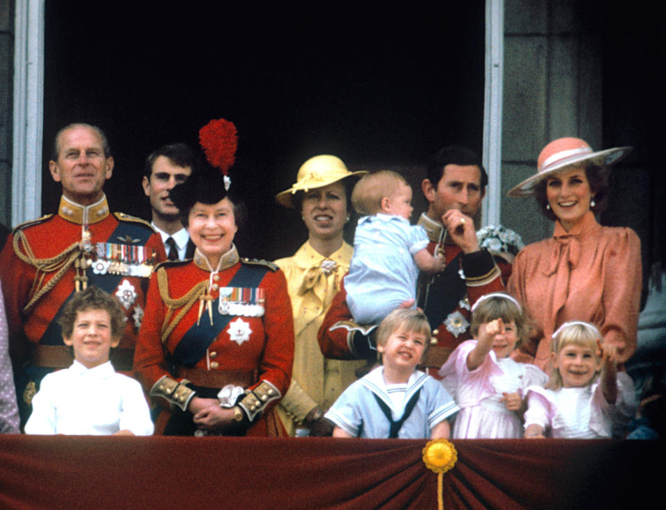 A family photo of the wider Royal family, with the Queen centre-stage and Prince Philip in uniform on the left.