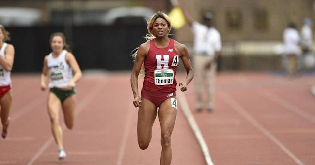 Harvard sprinter Gabby Thomas led the 4×400-meter relay team to an improbable win at the Ivy League Championships this weekend. (Twitter/HarvardTrack_XC)