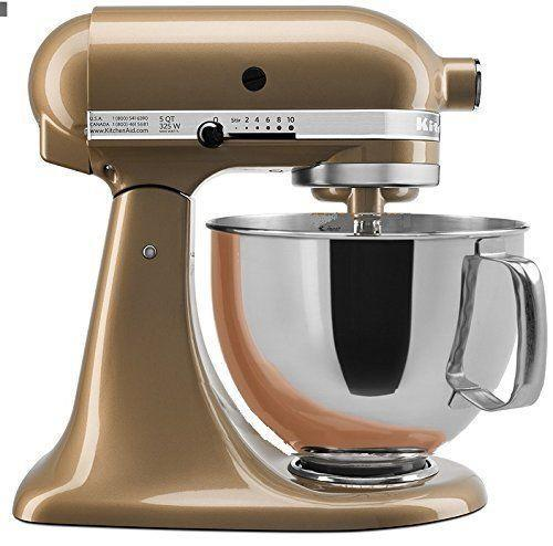 """<p><strong>KitchenAid</strong></p><p>amazon.com</p><p><strong>$399.99</strong></p><p><a href=""""https://www.amazon.com/dp/B01CRMY2B6?tag=syn-yahoo-20&ascsubtag=%5Bartid%7C10052.g.37068366%5Bsrc%7Cyahoo-us"""" rel=""""nofollow noopener"""" target=""""_blank"""" data-ylk=""""slk:Shop Now"""" class=""""link rapid-noclick-resp"""">Shop Now</a></p><p>Make baked goods in total glamour with this gilded stand mixer. </p>"""