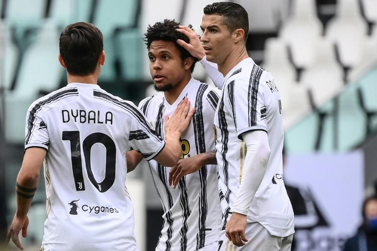 US midfielder Weston McKennie (C) scored for Juventus