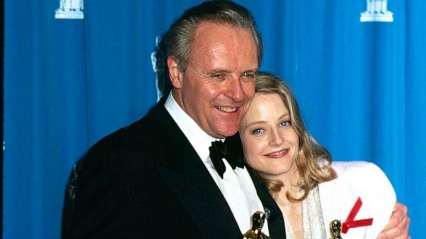PHOTO: In this March 30, 1992, file photo, Jodie Foster and Anthony Hopkins pose after they both won Oscars for 'Silence of the Lambs', at the Academy Awards in Los Angeles. (The LIFE Picture Collection via Getty Images, FILE)