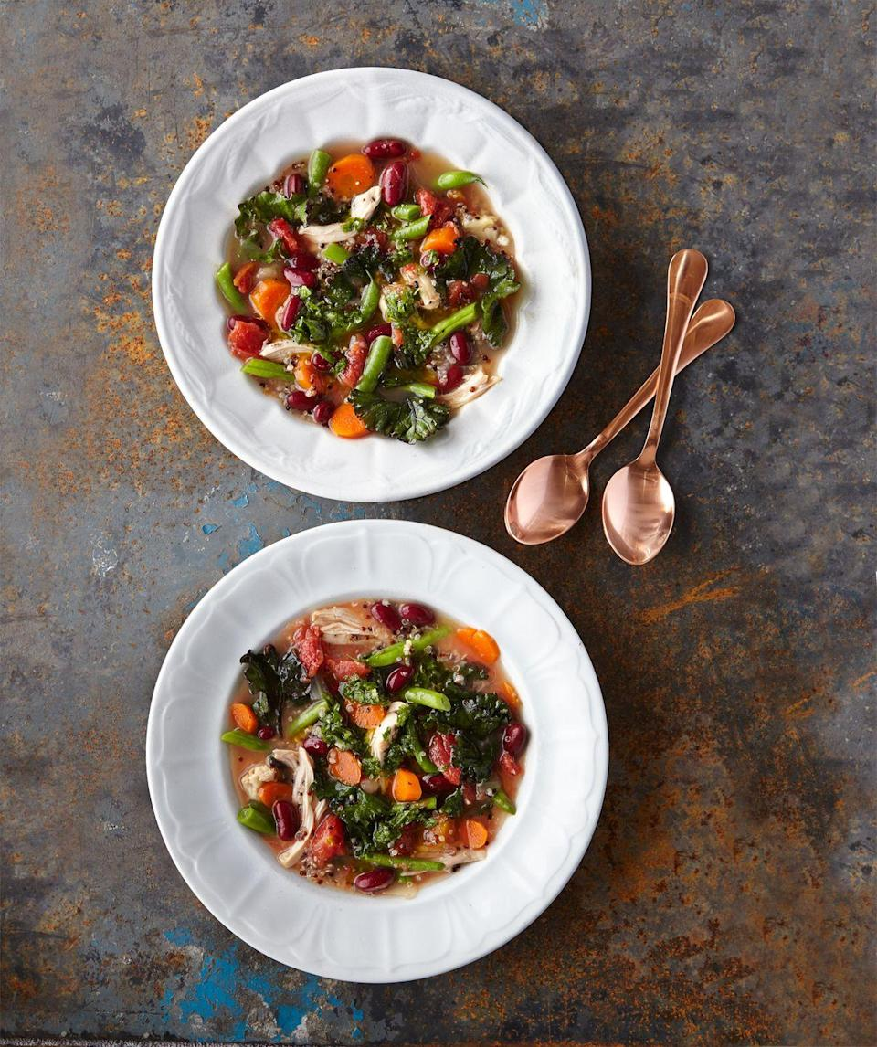 "<p>You'll love this healthy update on classic chicken and rice soup.</p><p><a href=""https://www.countryliving.com/food-drinks/recipes/a36485/chicken-and-quinoa-minestrone/"" rel=""nofollow noopener"" target=""_blank"" data-ylk=""slk:Get the recipe."" class=""link rapid-noclick-resp""><strong>Get the recipe.</strong></a></p>"