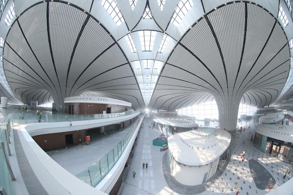 The terminal building of Beijing Daxing International Airport in Beijing. (Photo by Zhang Yudong/Xinhua via Getty) (Xinhua/ via Getty Images)