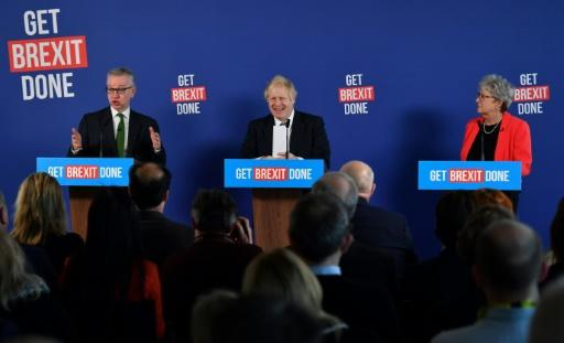 Johnson stood alongside Tory colleague Michael Gove (L) and Gisela Stuart (R), a former MP with the main opposition Labour party