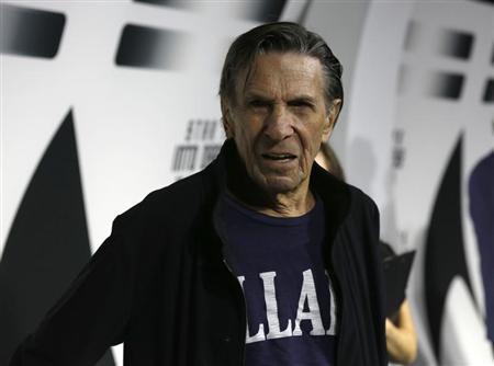 "Nimoy poses at the party for the release of the Blu-Ray DVD of ""Star Trek Into Darkness"" at the California Science Center in Los Angeles"