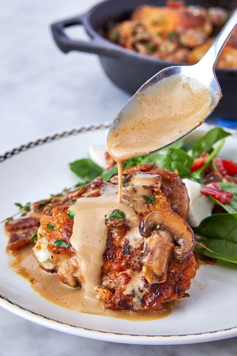 "<p>The magical part of this recipe is that the <a href=""https://www.delish.com/uk/cooking/recipes/g30242756/chicken-thigh-recipes/"" rel=""nofollow noopener"" target=""_blank"" data-ylk=""slk:chicken thighs"" class=""link rapid-noclick-resp"">chicken thighs</a> cook in bacon fat, which means the crispy skin tastes like BACON. If you don't have bacon (and don't want to buy it), use olive oil instead.</p><p>Get the <a href=""https://www.delish.com/uk/cooking/recipes/a30542688/keto-chicken-thighs-recipe/"" rel=""nofollow noopener"" target=""_blank"" data-ylk=""slk:Keto Bacon Chicken Thighs With Garlic Cream Sauce"" class=""link rapid-noclick-resp"">Keto Bacon Chicken Thighs With Garlic Cream Sauce</a> recipe.</p>"