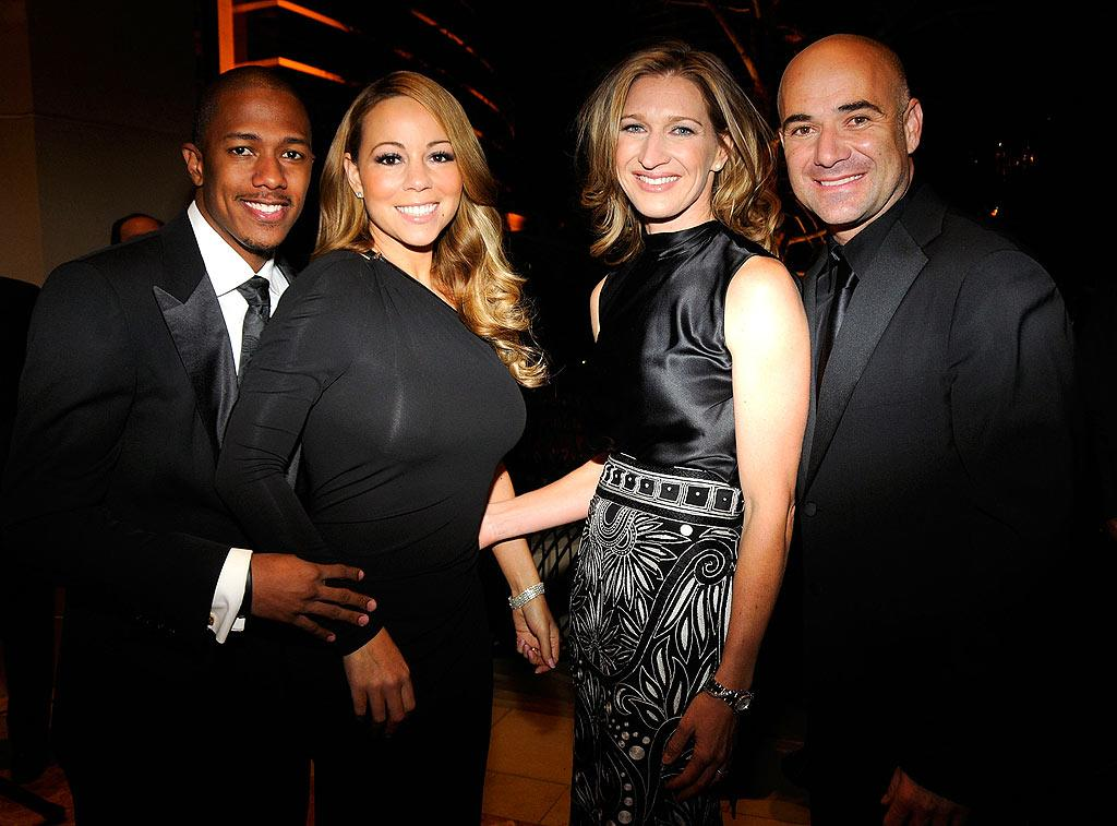 """The cute power couples pose for a picture as the party winds down. Kevin Mazur/<a href=""""http://www.wireimage.com"""" target=""""new"""">WireImage.com</a> - October 11, 2008"""