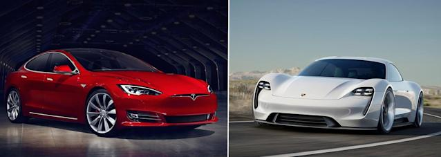 The Tesla Model S (L) and the Porsche Mission E (R)