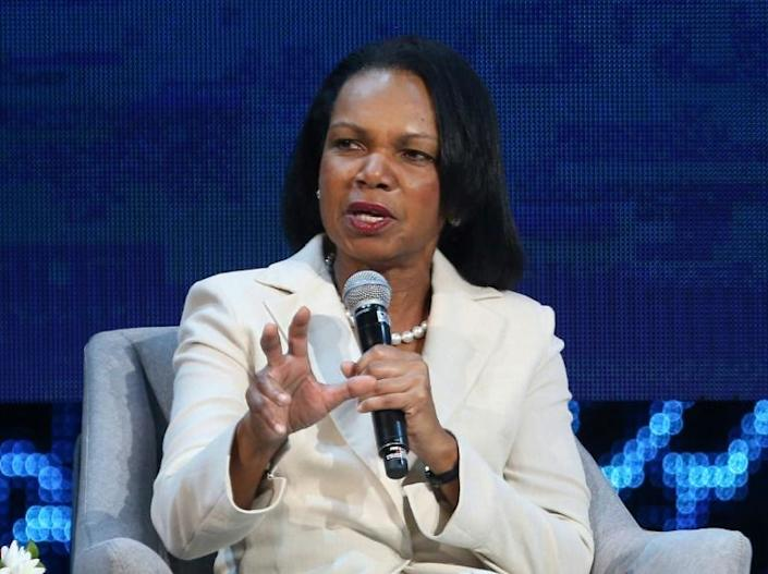 """Former US secretary of state Condoleezza Rice, pictured in November, 2019, has said she would """"absolutely"""" advise against using US troops against peaceful protesters (AFP Photo/-)"""