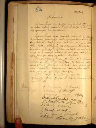 A photograph of the Lithuania's Independence declaration from February 16, 1918 released by Lithuanian Embassy in Berlin, Germany March 30, 2017. Lithuanian Embassy in Germany/Handout via REUTERS