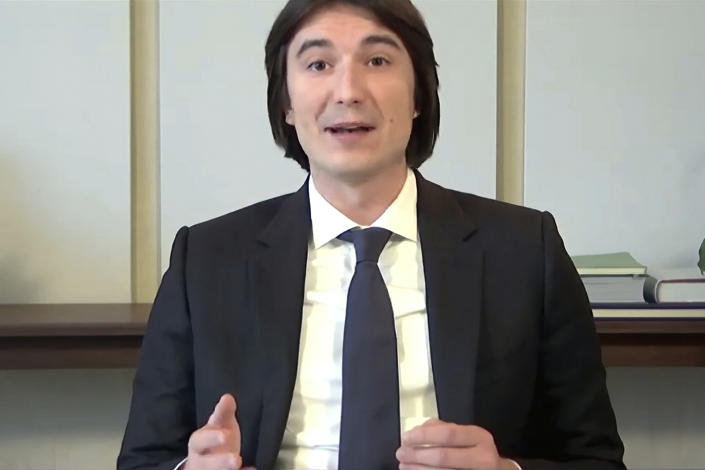 In this image from video provided by the House Financial Services Committee, VladTenev, chief executive officer ofRobinhoodMarkets, Inc., testifies during a virtual hearing on GameStop in Washington, Thursday, Feb. 18, 2021. Lawmakers are examining whether the wild swings in the stock price of the video game retailer exposed conflicts in the market's structure that can hurt unsophisticated investors. (House Financial Services Committee via AP)