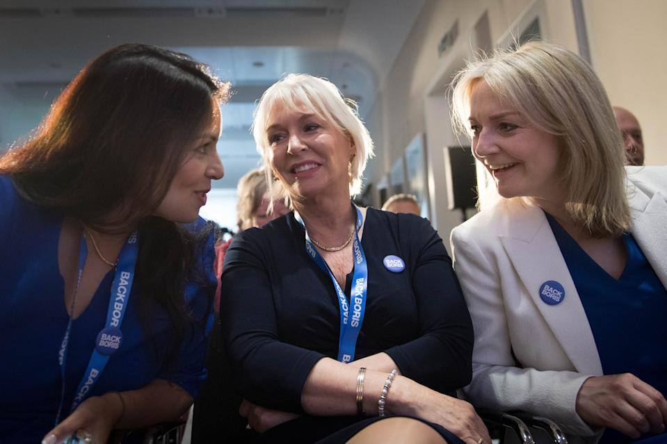 RETRANSMITTED AMENDING LOCATION (left to right) Conservative MPs Priti Patel and Nadine Dorries and Chief Secretary to the Treasury Liz Truss attend the launch of Boris Johnson's campaign to become leader of the Conservative and Unionist Party and Prime Minister at the Royal Academy of Engineering in central London. (Photo by Stefan Rousseau/PA Images via Getty Images)
