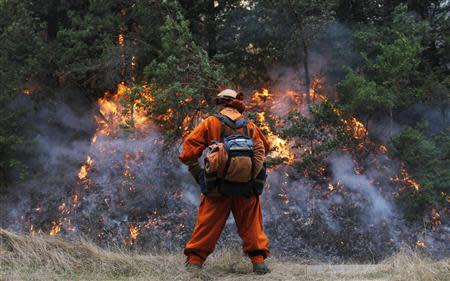 A firefighter keeps watch over a burn out operation in Big Sur