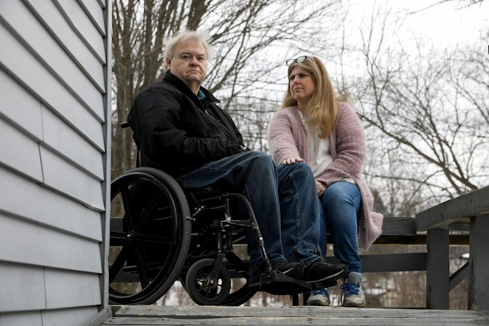 David and Jodi Schumaker at their Independence Township, Mich., home on Feb. 24, 2021, the day after a long ordeal and drive to find a COIVD-19 vaccine for David. It was a trip that took them on a 14-hour drive to Laurel, Miss. The Schumaker's desperate to get him a vaccine signed up with a pharmacy down there to get a shot but when they got there none were left for him.