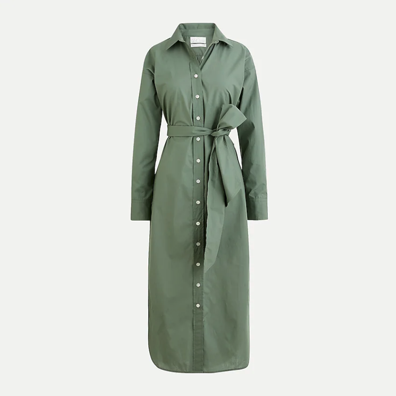 Relaxed-fit crisp cotton poplin shirtdress. Image via J.Crew.