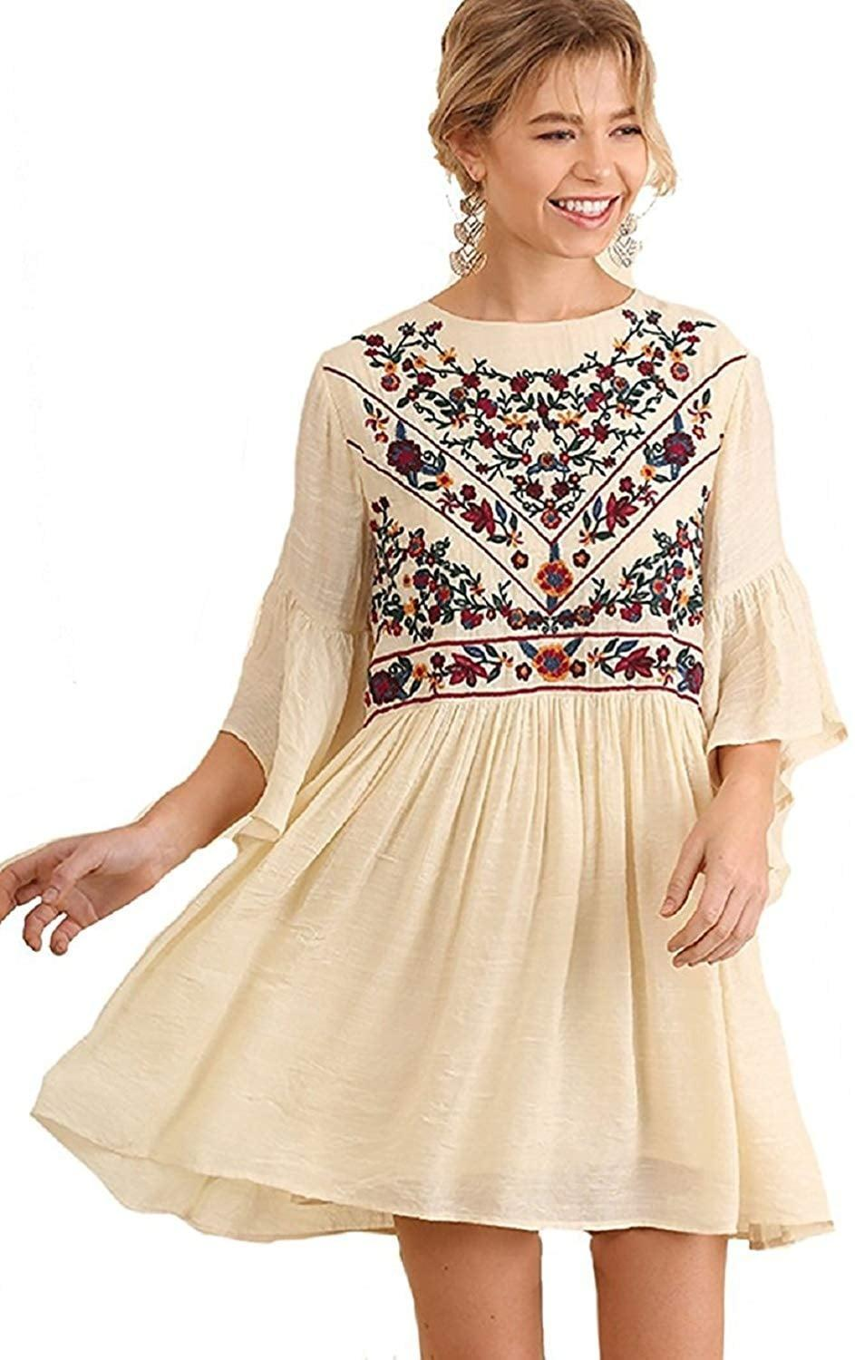 <p>We love the details of this <span>BoHo Bliss! Mandy and Ally Embroidered Bell-Sleeve Dress </span> ($42).</p>