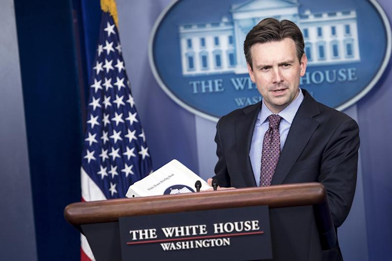 White House spokesman Josh Earnest, pictured during a briefing at the White House, in Washington, DC, on October 15, 2014