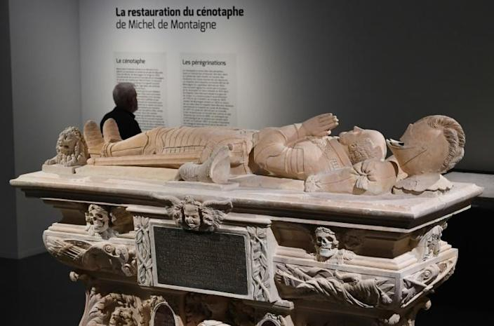 The cenotaph of French philosopher Michel de Montaigne (1533-1592) is an exhibit in the Musee d'Aquitaine in Bordeaux (AFP Photo/MEHDI FEDOUACH)