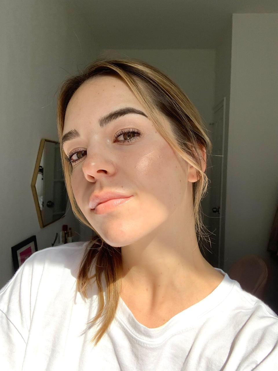 <p>I swiped the highlighter on both cheeks, and waited to blend it. I usually wear foundation when I wear highlighter, but I decided to skip it this time. The product went on really well, but I would recommend letting it set for a minute or two before adding more makeup to your face.</p>