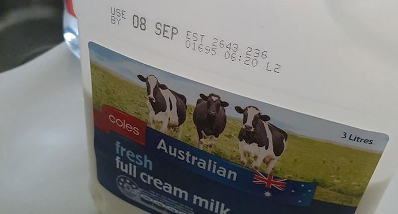 A carton of Coles milk with a September 8 use by date.