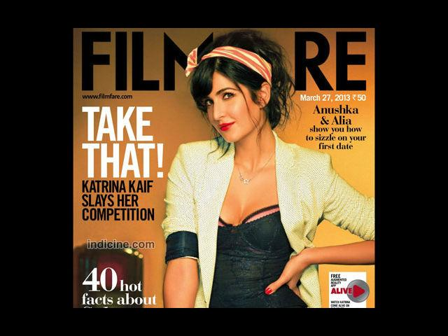<b>8) Katrina Kaif for Filmfare, April</b><br>Katrina Kaif flirts with her Filmfare, April issue and given her doll-like looks, she seems at ease playing naughty on the cover. A perfect concoction of sass and style, Katrina heats it up in a black corset and pink lacy brassiere.