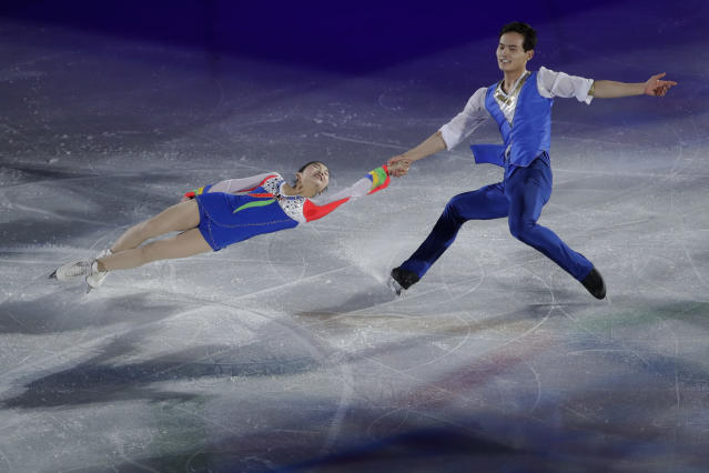 Ryom Tae Ok and Kim Ju Sik of North Korea perform during the figure skating exhibition gala in the Gangneung Ice Arena at the 2018 Winter Olympics in Gangneung, South Korea, Sunday, Feb. 25, 2018. (AP Photo/Felipe Dana)