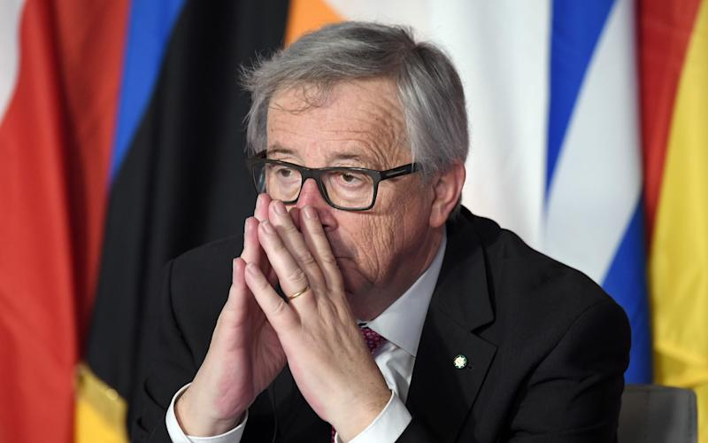 European Commission President Jean-Claude Juncker looks on during a special summit of EU leaders to mark the 60th anniversary of the bloc's founding Treaty of Rome - AFP or licensors
