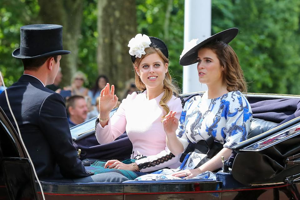 Princesses Beatrice and Eugenie rode together in 2019 - Beatrice wore a pink Emilia Wickstead dress, which Countess Sophie wore the year before to Ascot, and Eugenie wore Amanda Wakeley and a hat by Emily London. (Getty Images)